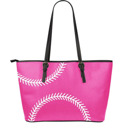 Softball Pink Large Leather Tote Bag