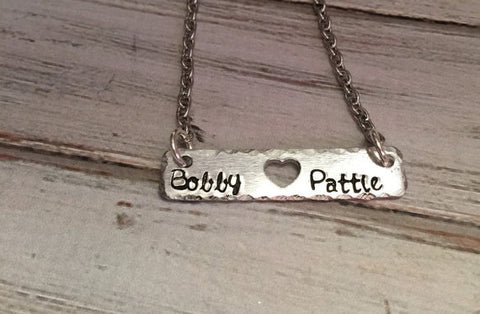 Couples necklace - Hand stamped couples necklace -