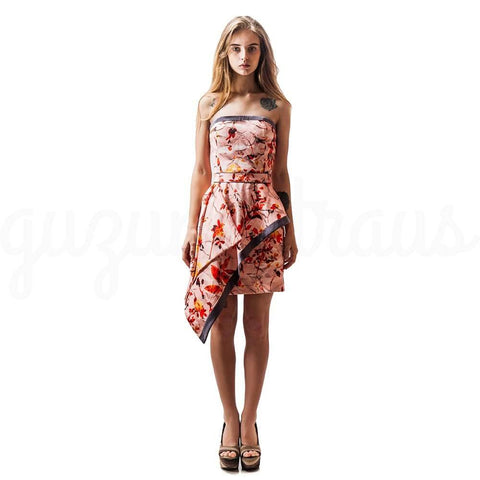 Image of Floral Sleeveless Dress Asymmetric Hem