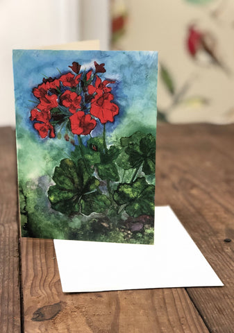 Image of Geraniums Painting : Art Prints and Greeting Cards