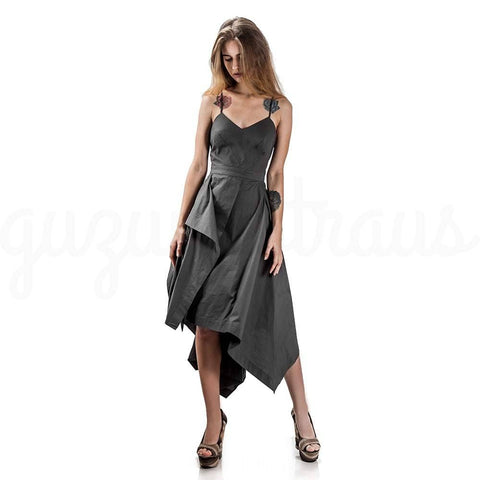 asymmetric stormy gray dress with spaghetti straps