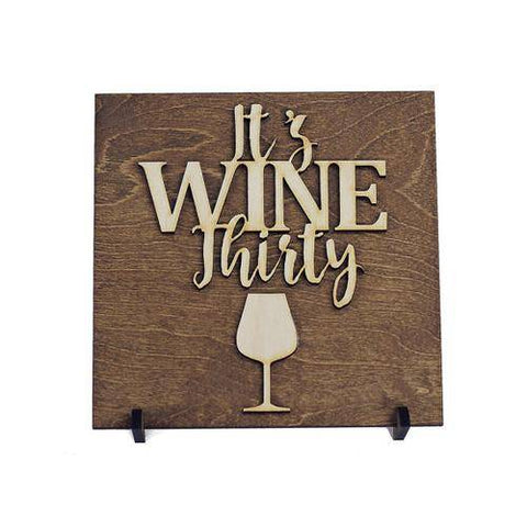 Image of Wine Thirty Wood Plaque Gift