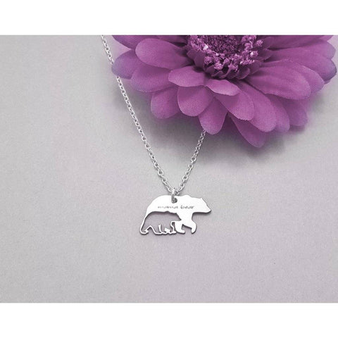 Mama Bear Baby Bear Sterling Silver Necklace