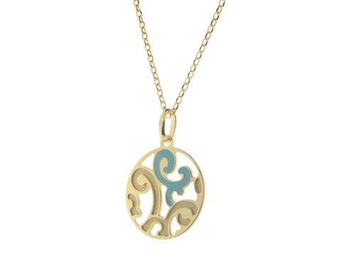 Estruscan Turquoise Swirls Disc Necklace in