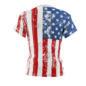 Faded Flag Women's Allover Print T Shirt