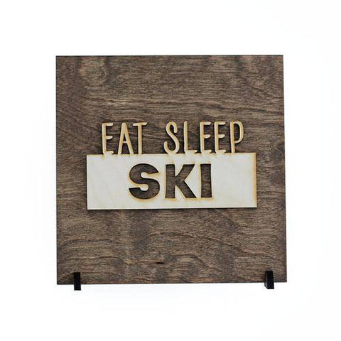 Image of Eat Sleep Ski Wood Sign Gift