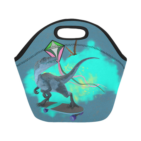 Image of dinosaur insulated lunch bag with zipper