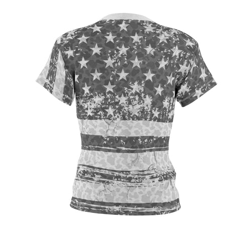 Image of american flag camo allover print t shirt ghost mockup back view