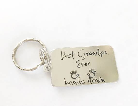 Best Grandpa Ever Hands Down Stamped Key Chain