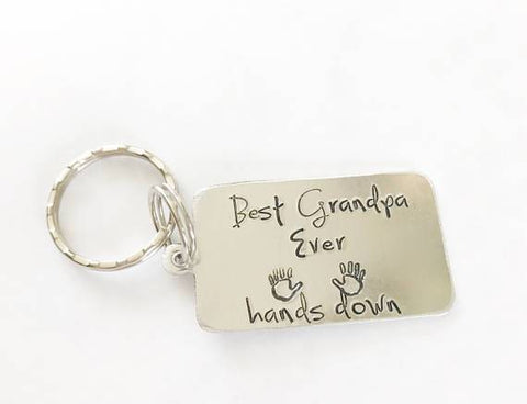 Image of Best Grandpa Ever Hands Down Stamped Key Chain