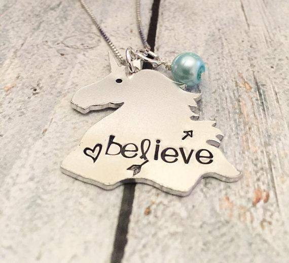 Hand Stamped Unicorn Necklace