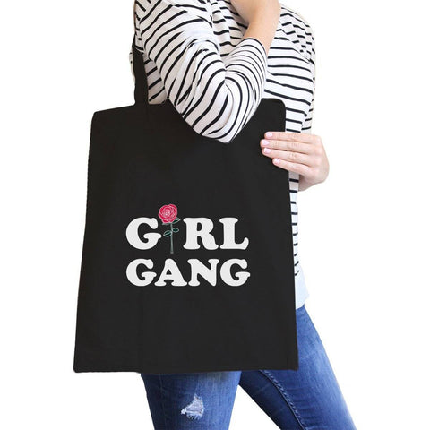 Image of Girl Gang Rose Black Canvas Bag Gift Ideas For Girls Tote Bags