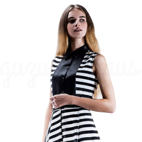 Image of Striped Sleeveless Dress in Black and White