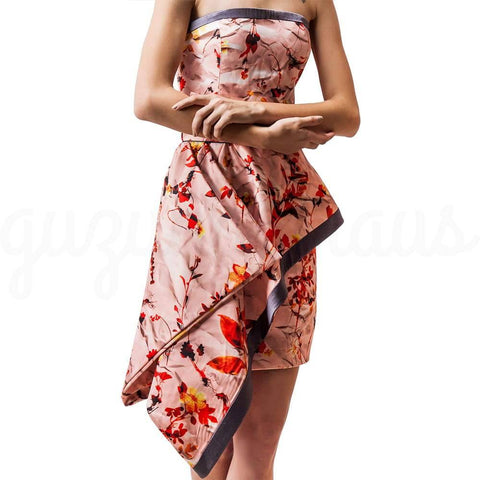 Image of asymmetric hem strapless floral dress