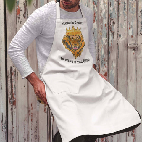 Image of Dad Is King of the Grill Apron Personalized