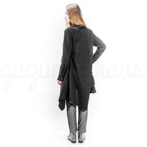 dark gray  asymmetric cotton jacket back view
