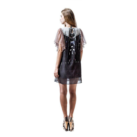 Image of Short Dress with Sheer Sleeves and Art Print