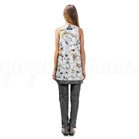 Image of floral sleeveless mini dress back