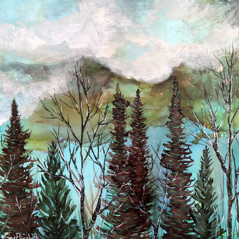 Image of Moody Sky landscape mixed media painting