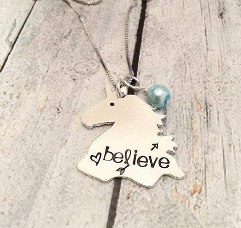 Image of Hand Stamped Unicorn Necklace