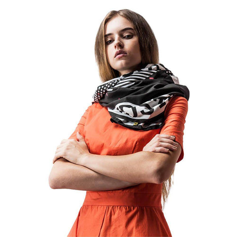 Black and White Geometric Scarf