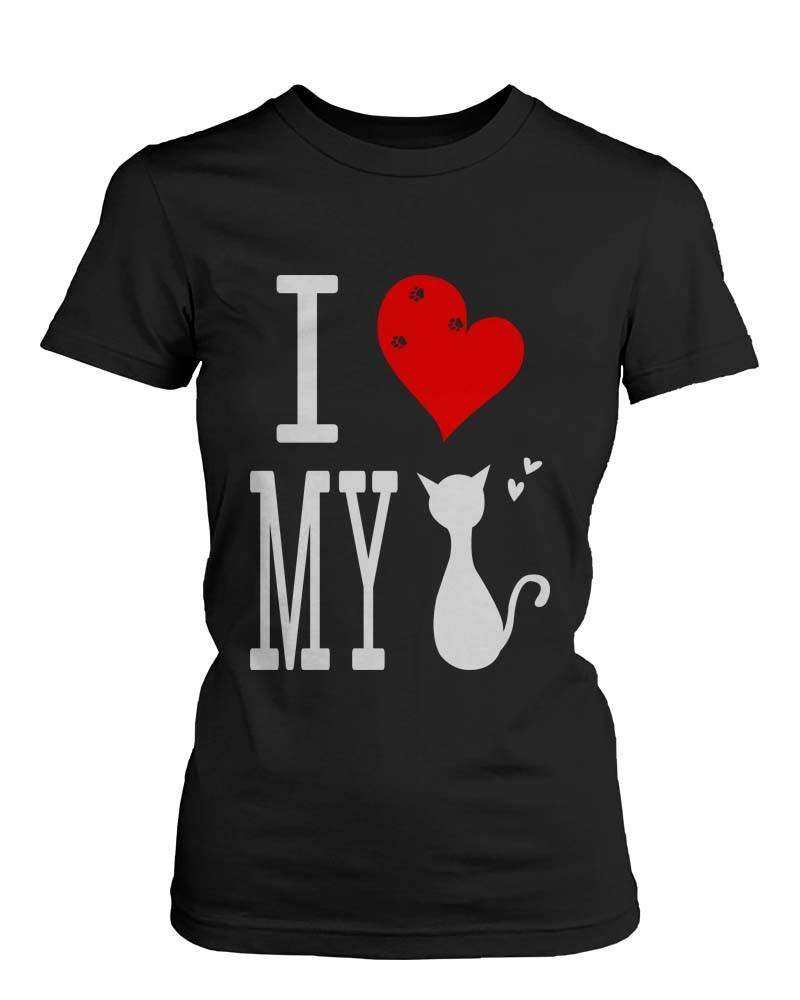 Funny Graphic Statement Womens Black T-shirt - I Love My Cat