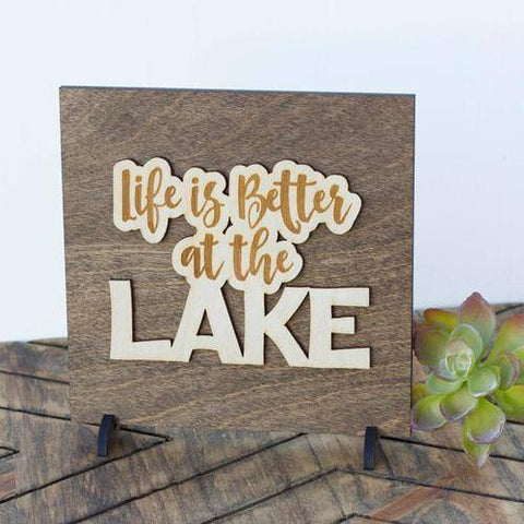 Image of Lake Cottage Decor Rustic Wood Plaque