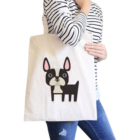 Image of French Bulldog Natural Canvas Bags Gifts For French Bull Dog Owner