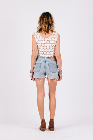 Image of back view daisy crochet womens sleeveless crop top