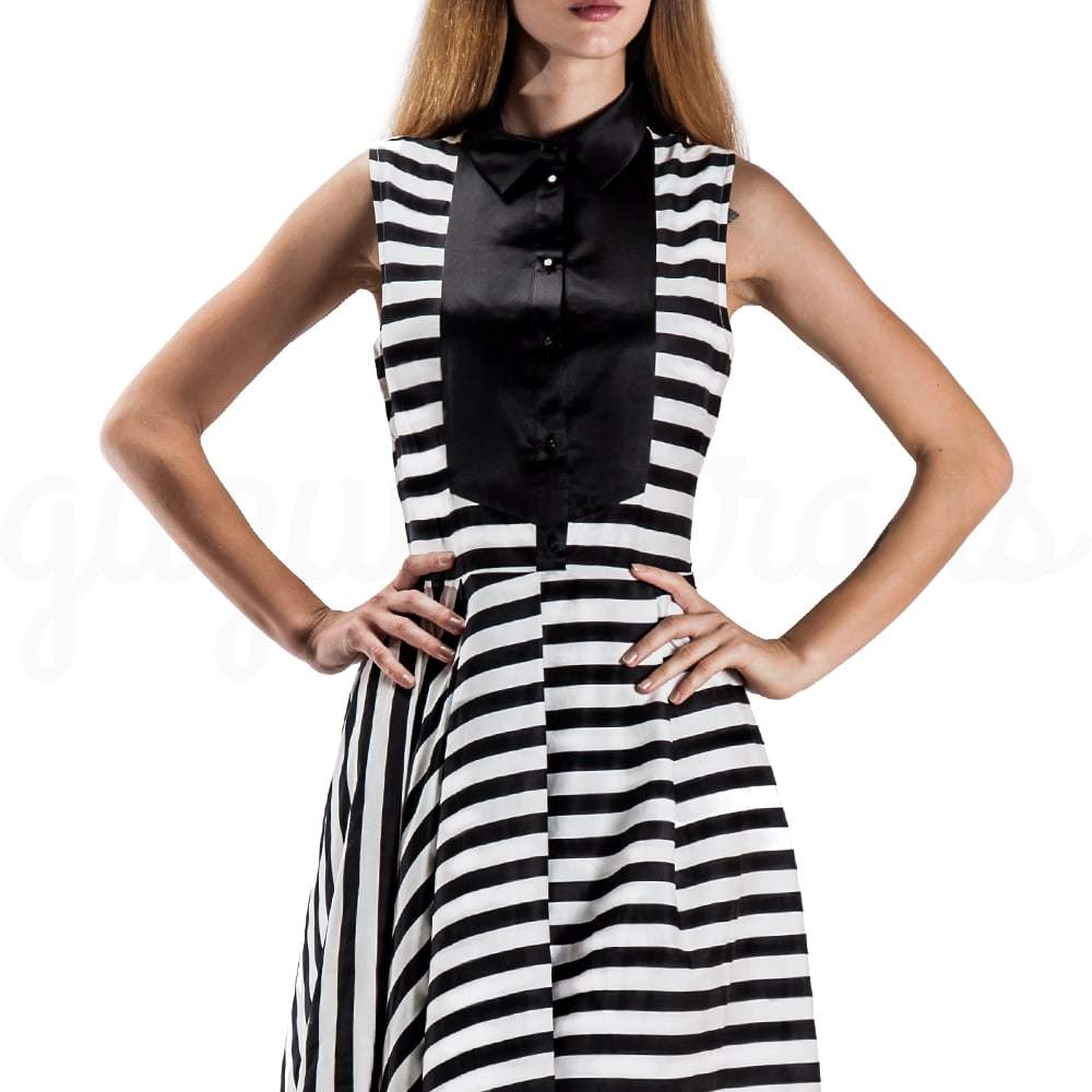 Striped Sleeveless Dress in Black and White