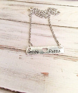 personalized couples name bar necklace