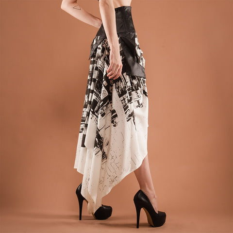 Image of black and white asymmetric skirt