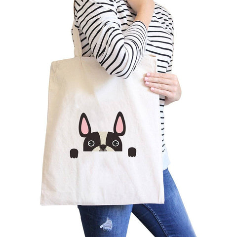 Image of French Bulldog Peek A Boo Natural Canvas Bag Gifts For Dog Owners