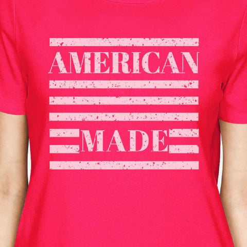 Image of American Made Womens Hot Pink Graphic T-Shirt Unique Design Top