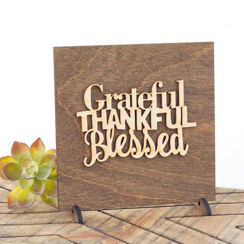 Image of Grateful Thankful Blessed Wood Plaque Gift