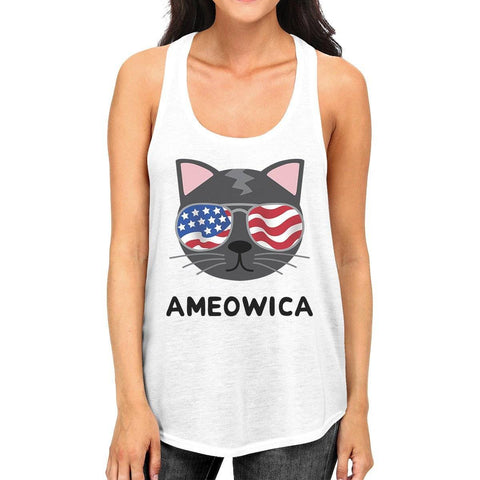 Image of Ameowica Womens White 4th Of July Sleeveless Shirt For Cat Lovers