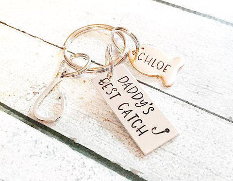 Image of Personalized Best Catch Hook and Fish Keychain Gift