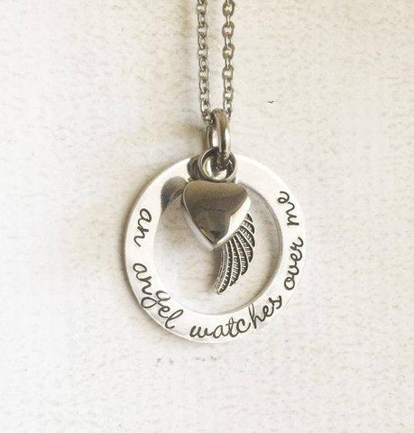 Hand Stamped Memorial Necklace with Urn