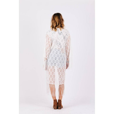 Image of White Daisy Lace Caftan Cover up Back View