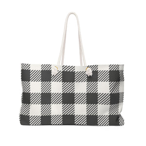 black and white buffalo check weekender bag