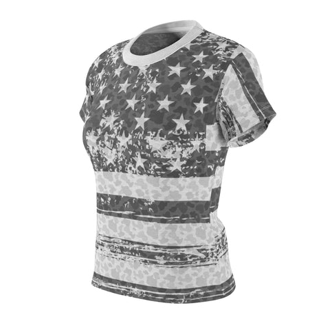 Image of american flag black and white camo allover print t shirt