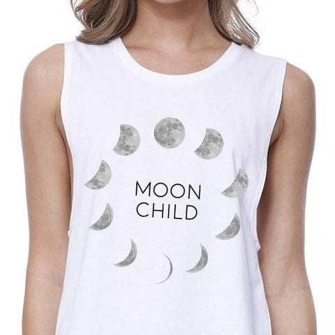 Image of moon child moon phases white crop top closeup