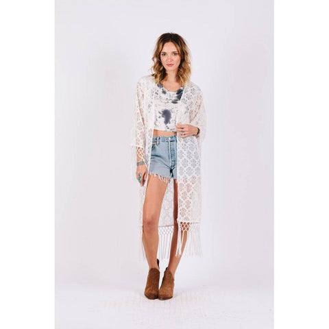 White Daisy Lace Caftan Cover Up