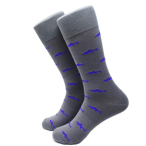 Image of Shark Socks - Men's Mid Calf - Purple on Gray