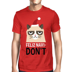 Feliz Navidon't Red Men's T-shirt Christmas Gift For Cat Lovers