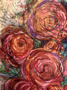 pink roses art by Mary Elizabeth Arts