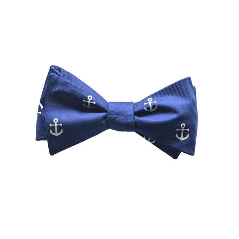 Image of Anchor Bow Tie - Navy, Printed Silk