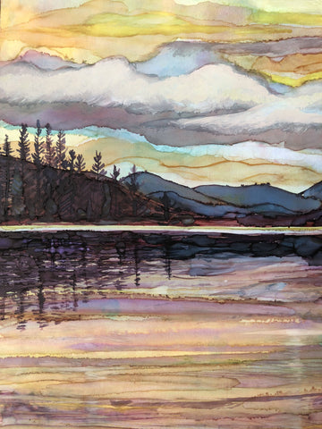 Image of Lake Sunset Landscape Painting : Art Prints and Greeting Cards