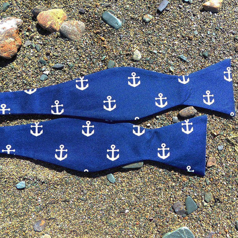 Anchor Bow Tie - Navy, Printed Silk
