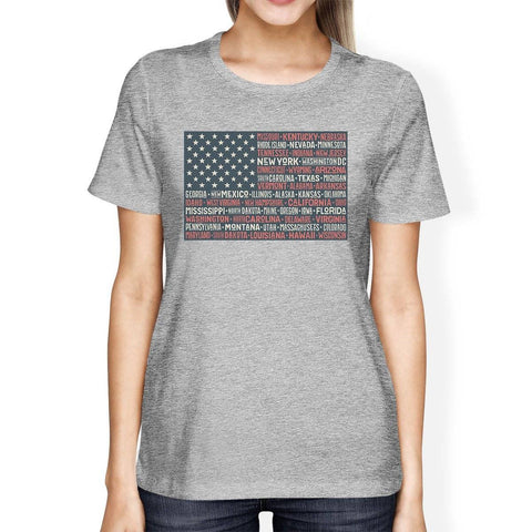 50 States US Flag American Flag Shirt Womens Grey Cotton T-Shirt